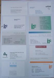 Oben links meine damalige Siemens-Visitenkarte, auf dich immer noch stolz bin.