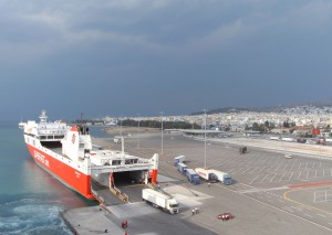 Done – getting on board in Patras lies behind us ;-)