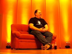 Felix von Leitner auf dem Podium während des Chaos Communication Congress, 2009