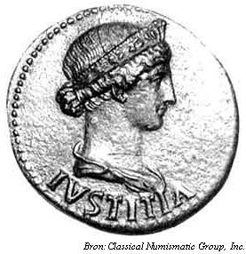 Agrippina minor mit Diadem als Justitia auf einer Münze des Nero