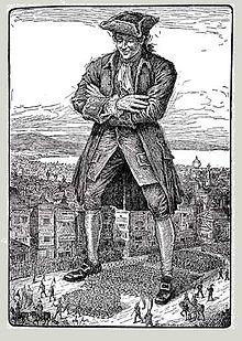 Eine Liliputaner-Parade marschiert durch Gullivers Beine. Illustration von Louis Rhead, 1913.
